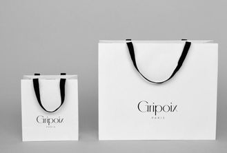 China White Custom Printed Paper Gift Bags With Handles And Logo OEM Service supplier
