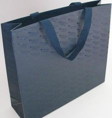 China Fashion Black Paper Bags With Handles , Company Logo Promotional Gift Bags supplier