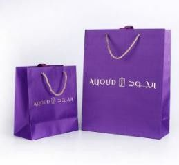 Fashion Purple Printed Shopping Bags For Gift Packaging Eco Friendly OEM Service