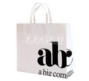 China White Recycled Paper Shopping Bags With Logo , Garment Packaging Bags factory
