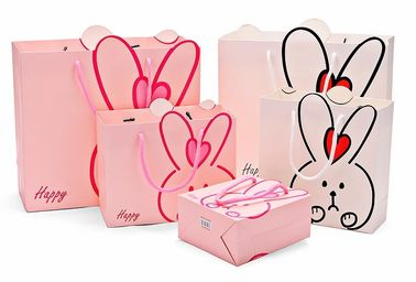 China Lovely Custom Printed Shopping Bags , Colored Paper Bags With Handles factory