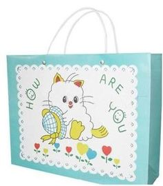 Cartoon Printed Paper Bags With Handles , Custom Design Paper Bags