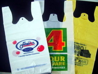 Recycled Custom Plastic Grocery Bags With Handles Eco Friendly Multi Colored