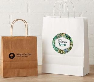 Custom Printed Clothing Paper Bags , Paper Shopping Bags With Handles