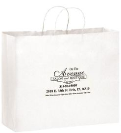 White Color Clothing Paper Bags For Shopping / Advertising And Promotion Purposes