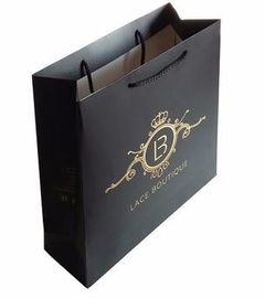 China Black Paper Gift Bags With Handles , Custom Shopping Bags With Logo factory