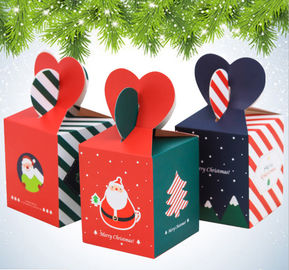 Lamination Paper Xmas Gift Boxes Custom Flower Printed Many Colors Available