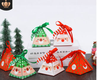Multi Color Christmas Cardboard Boxes , Recycled Paper Folding Gift Box