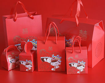 Red Custom Printed Kraft Paper Bags / Custom Printed Gift Bags With Handle