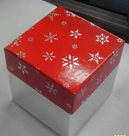 Multi Cartoon Christmas Packaging Boxes White Card Paper With Ribbon